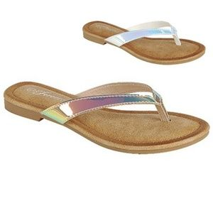 Shoes - Coming Soon!! Hologram Padded Flip Flops, Sandals